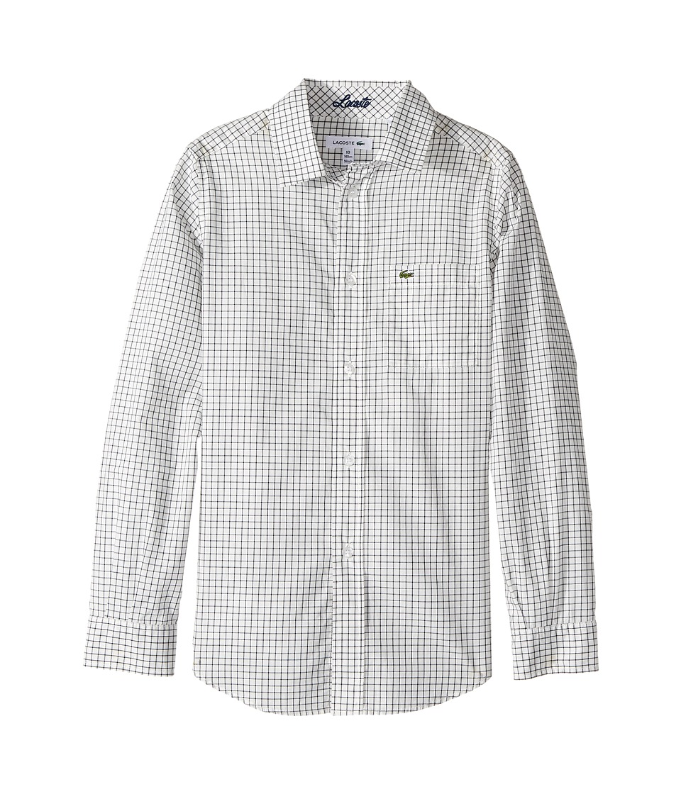 Lacoste Kids - Long Sleeve Poplin Check Shirt (Little Kids/Big Kids) (White/Navy Blue) Boy's Long Sleeve Button Up