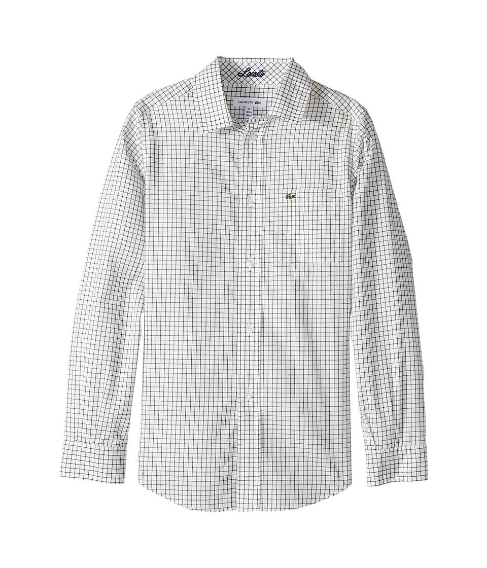 Lacoste Kids - Long Sleeve Poplin Check Shirt (Little Kids/Big Kids) (White/Navy Blue) Boy's Long Sleeve Button Up