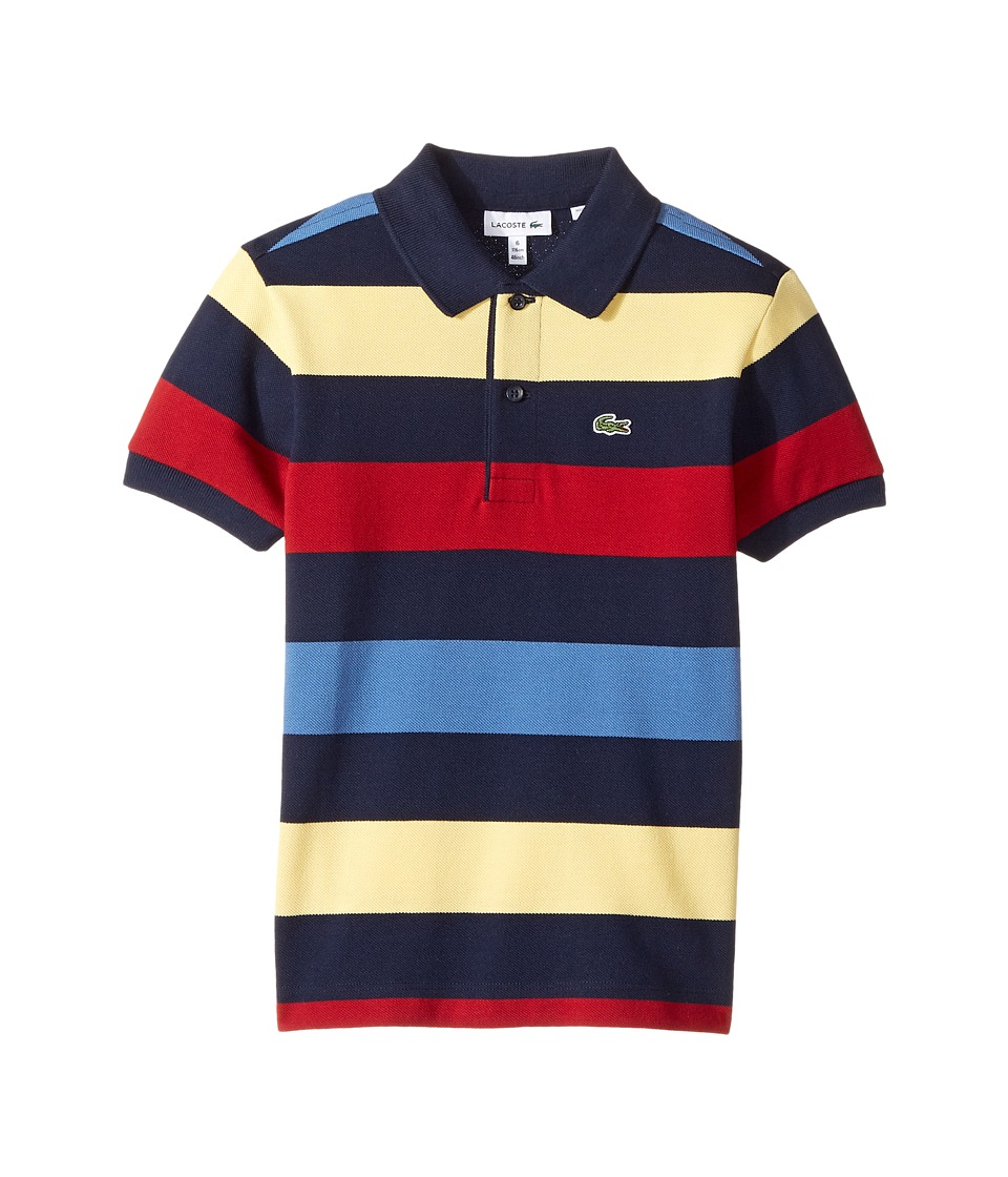 Lacoste Kids - Short Sleeve Small Multi Stripe (Little Kids/Big Kids) (Navy Blue/Light/Wave Blue/Ladybird) Boy's Clothing