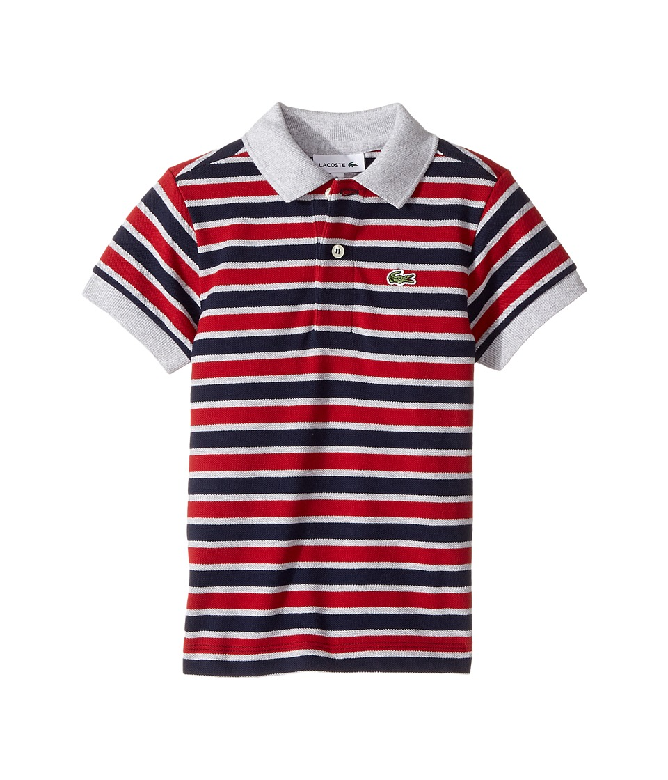 Lacoste Kids - Short Sleeve Small Multi Stripe (Infant/Toddler/Little Kids/Big Kids) (Navy Blue/Silver Chine/Ladybird) Boy's Clothing