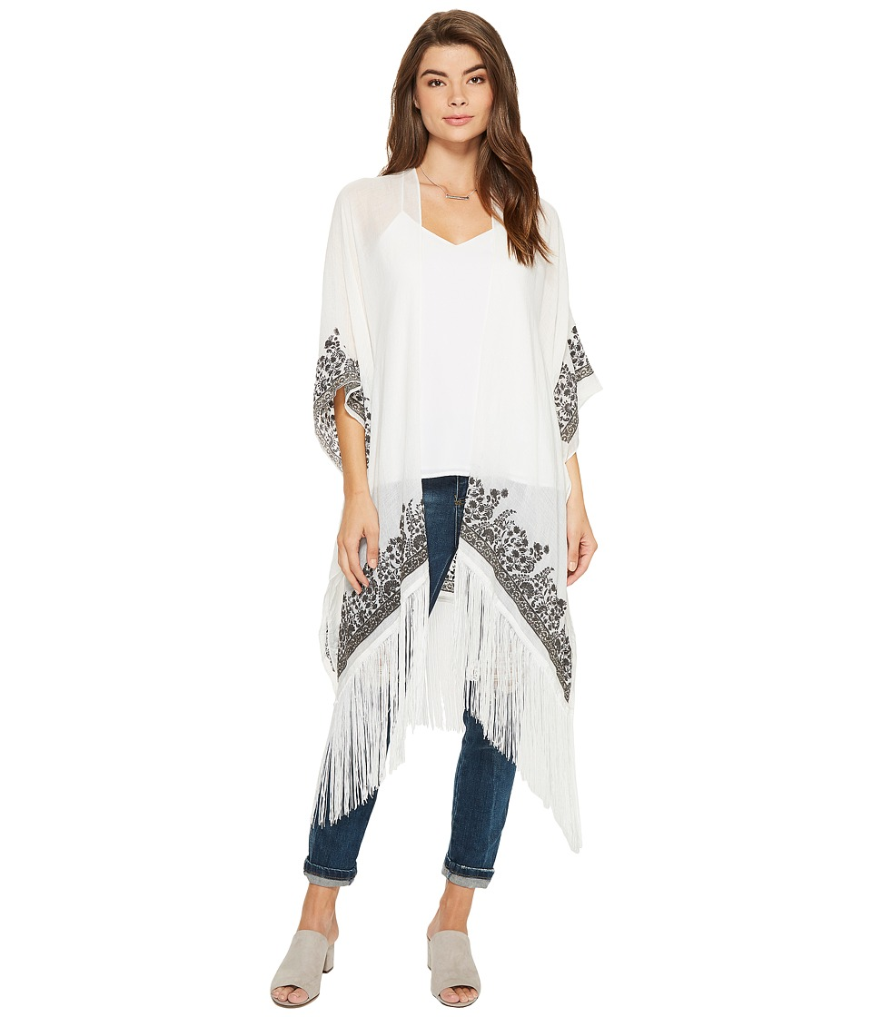 BCBGeneration - Stamped Paisley Fringed Kimono (White) Women's Clothing