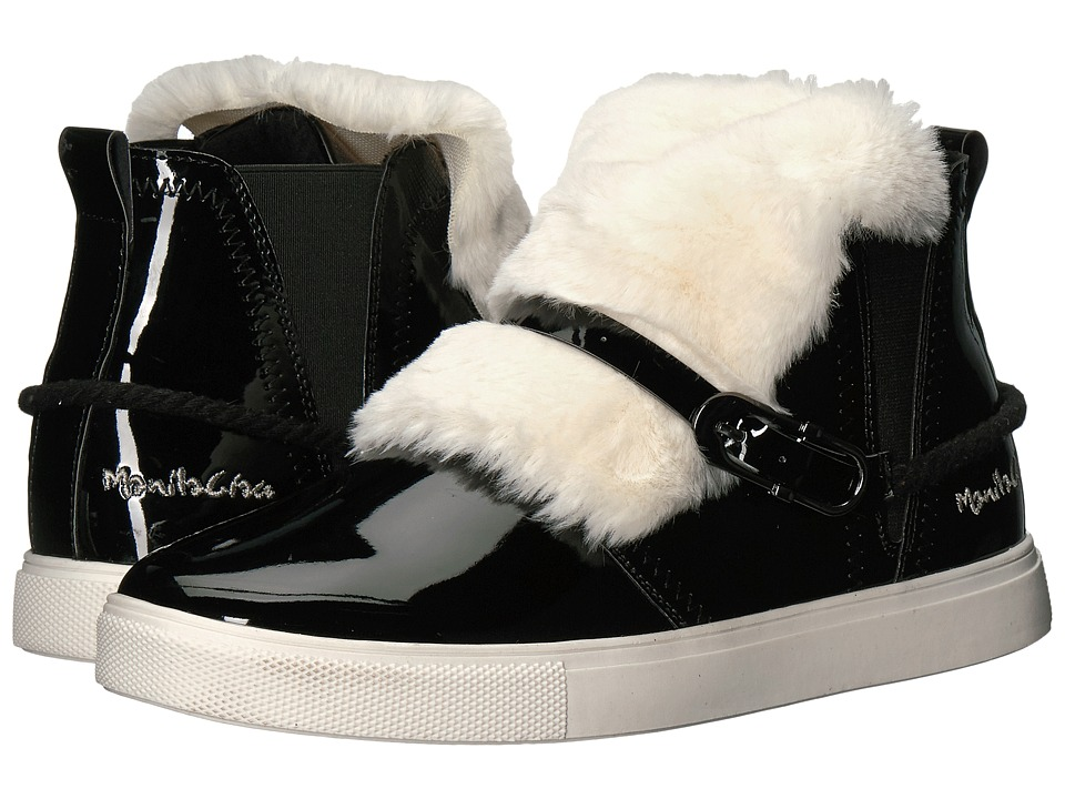 Manila Grace - Faux Fur Front High Top Sneakers (Black) Women's Lace up casual Shoes