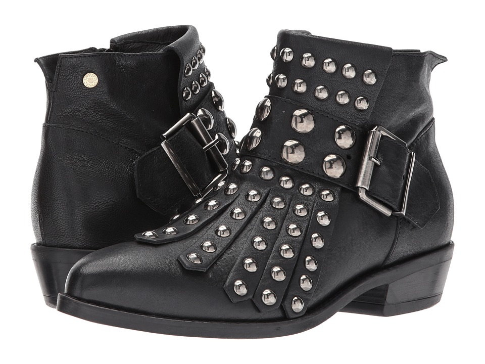 Manila Grace Studded Fringe Ankle Boots (Black) Women