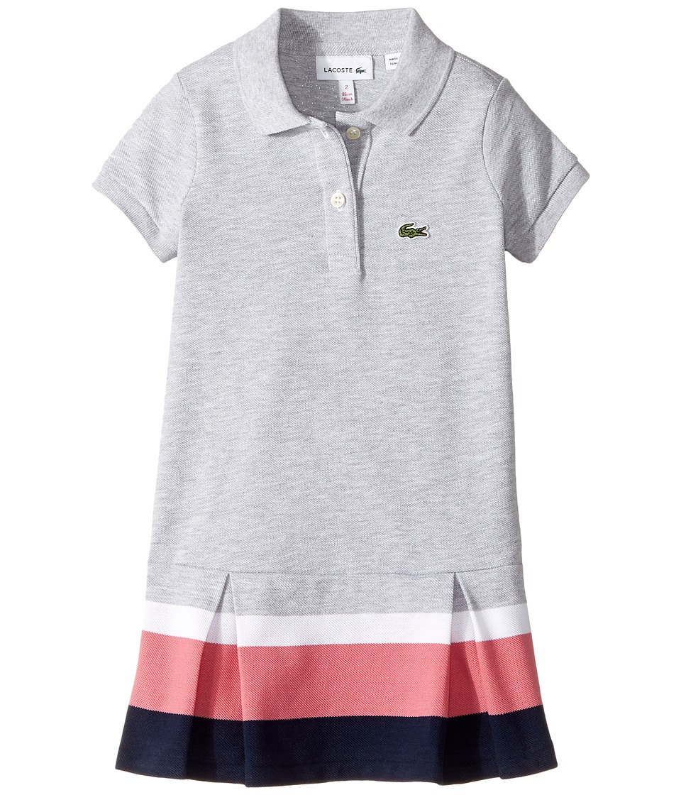 Lacoste Kids - Short Sleeve Pleated Bottom Dress (Toddler/Little Kids/Big Kids) (Silver Chine/Navy Blue/Strawberry Plant/White) Girl's Dress