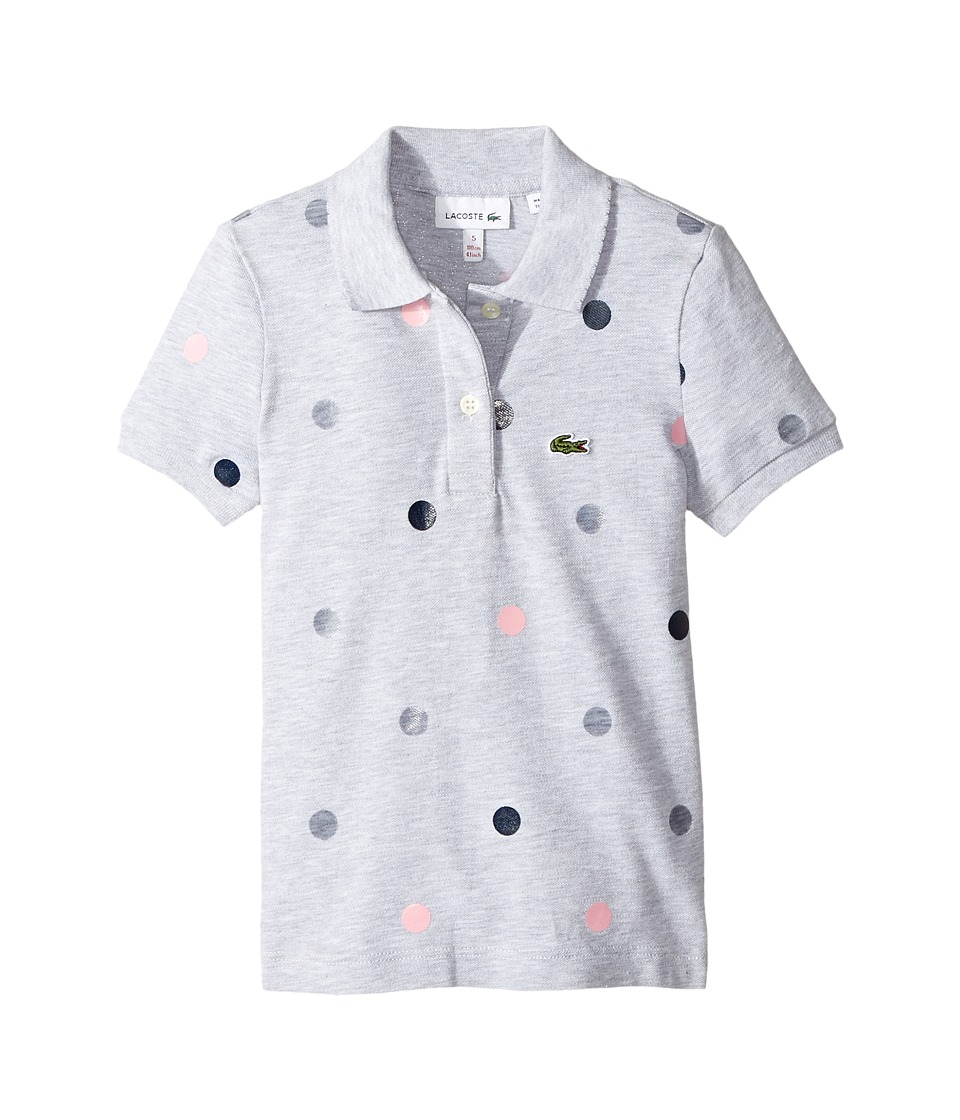 Lacoste Kids - Short Sleeve Polka Dot Polo (Toddler/Little Kids/Big Kids) (Silver Chine) Girl's Short Sleeve Pullover