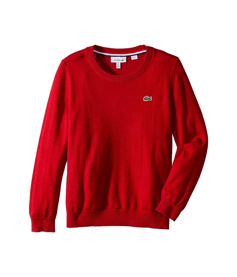 Lacoste Kids Long Sleeve Crewneck Sweater (Toddler/Little Kids/Big Kids) (Ladybird) Boy