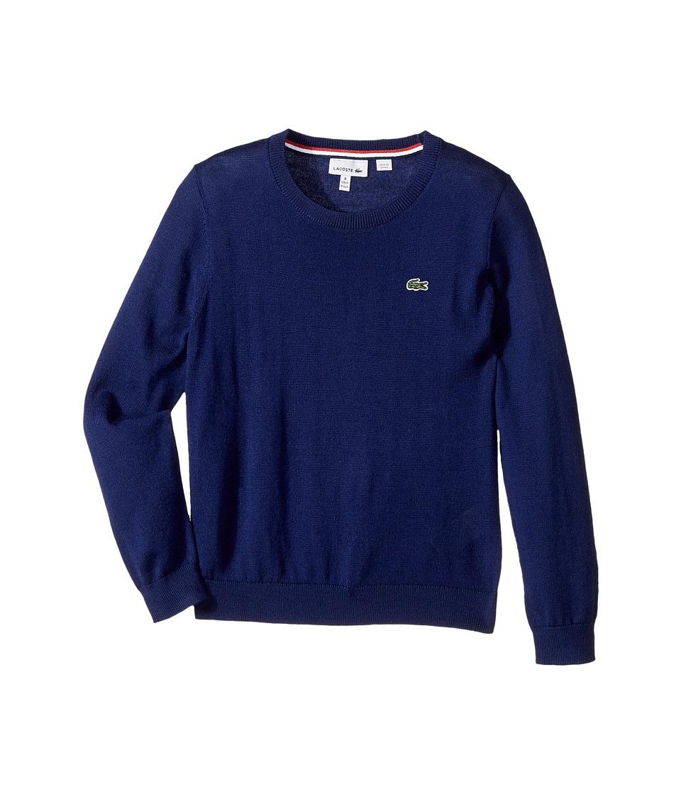 Lacoste Kids Long Sleeve Crewneck Sweater (Toddler/Little Kids/Big Kids) (Methylene) Boy