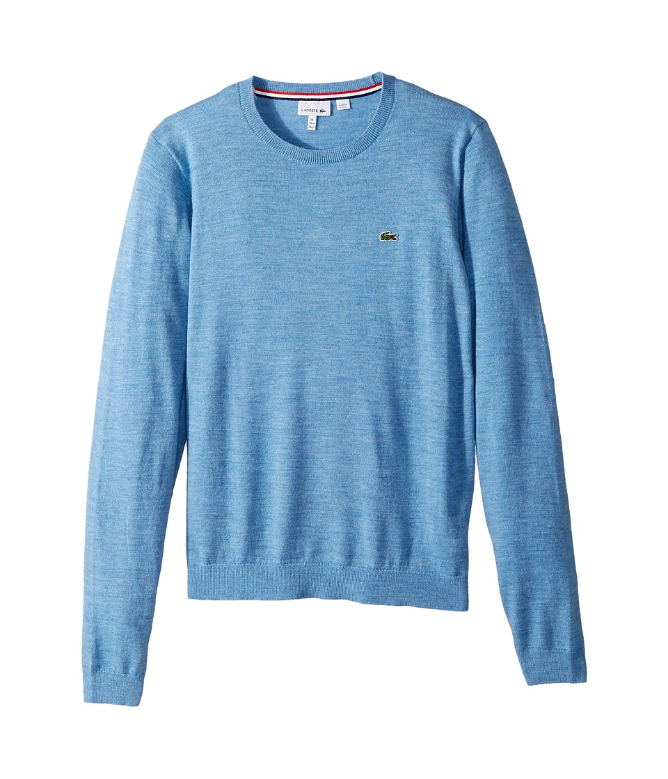 Lacoste Kids Long Sleeve Crewneck Sweater (Toddler/Little Kids/Big Kids) (Cloudy Blue Chine) Boy