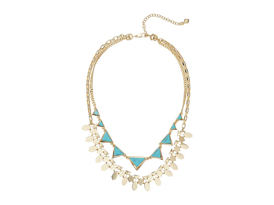 Vera Bradley - Triangle Double Statement Necklace (Gold Tone) Necklace