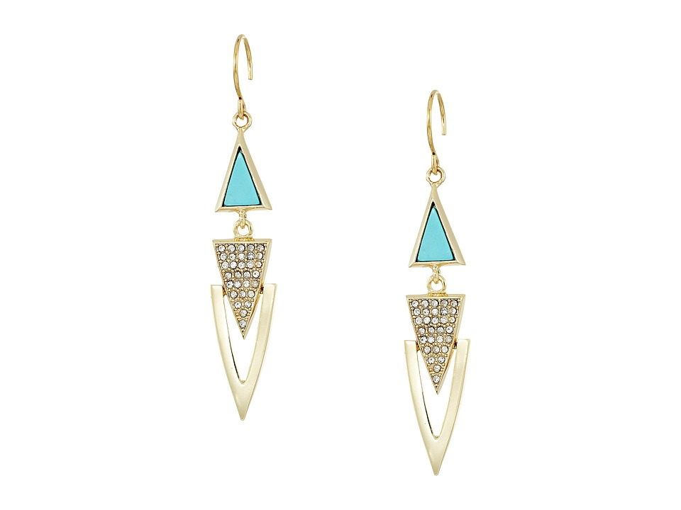 Vera Bradley - Triangle Triple Drop Earrings (Gold Tone) Earring