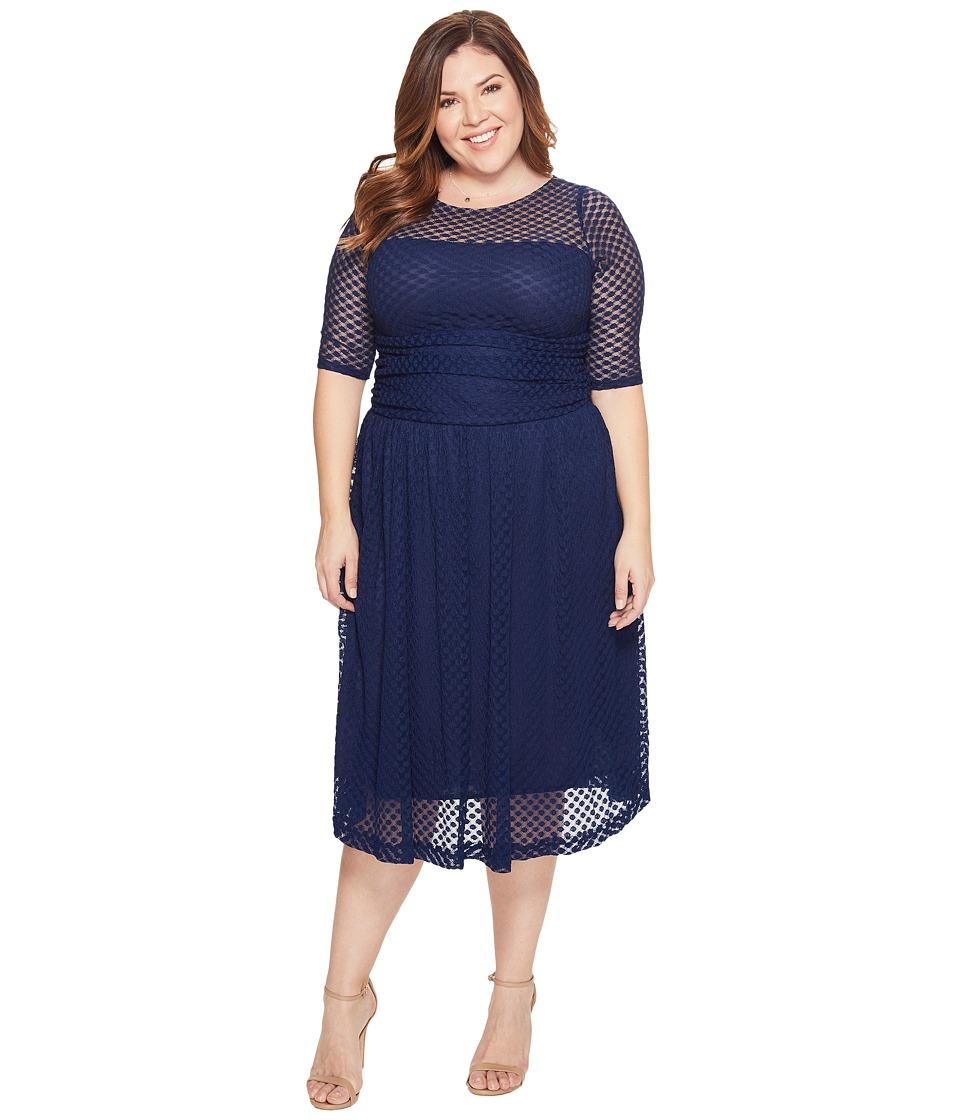 Kiyonna Alexa Retro Lace Dress (Navy Blue) Women