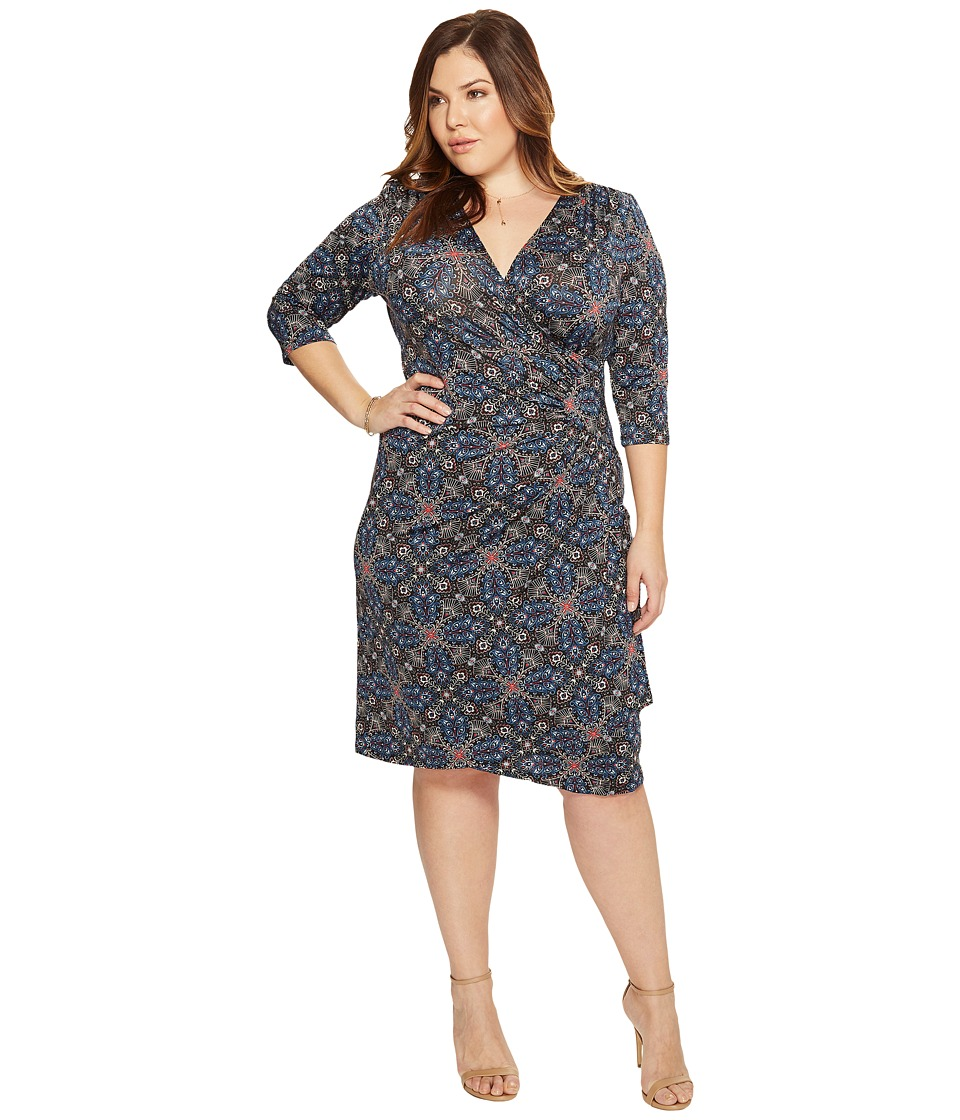 Kiyonna Ciara Cinch Dress (Tile Mix Print) Women's Dress