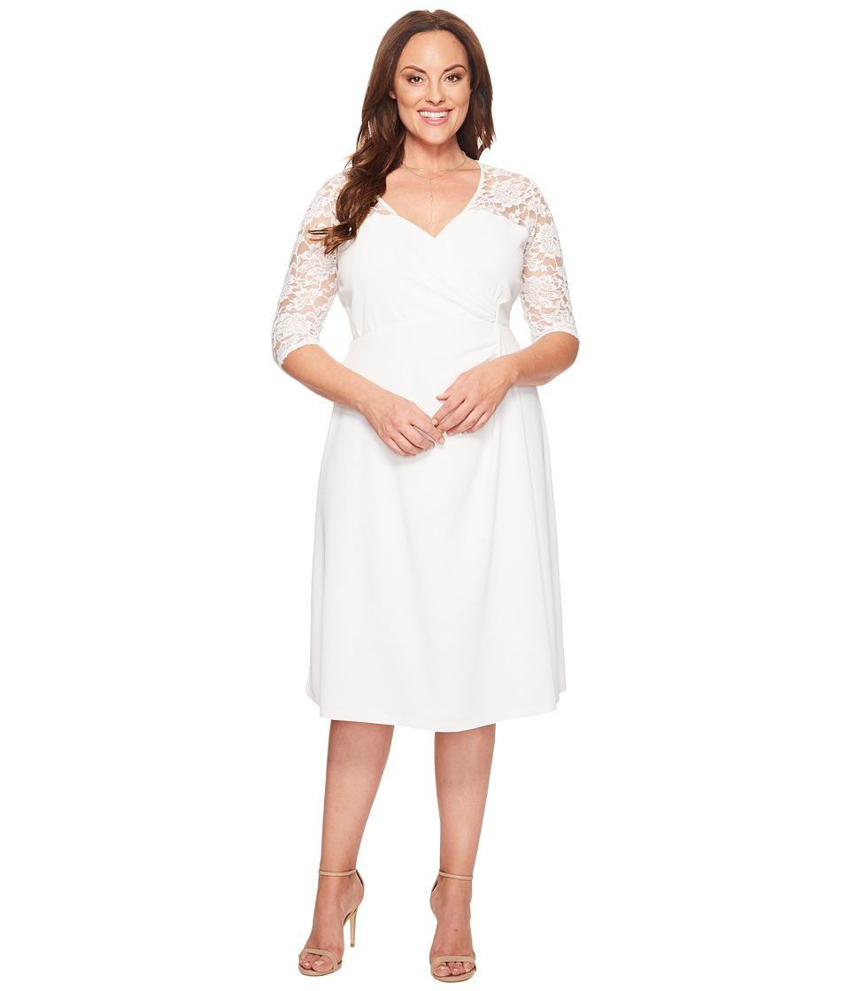 Kiyonna Lavish Lace Dress (White Jasmine) Women