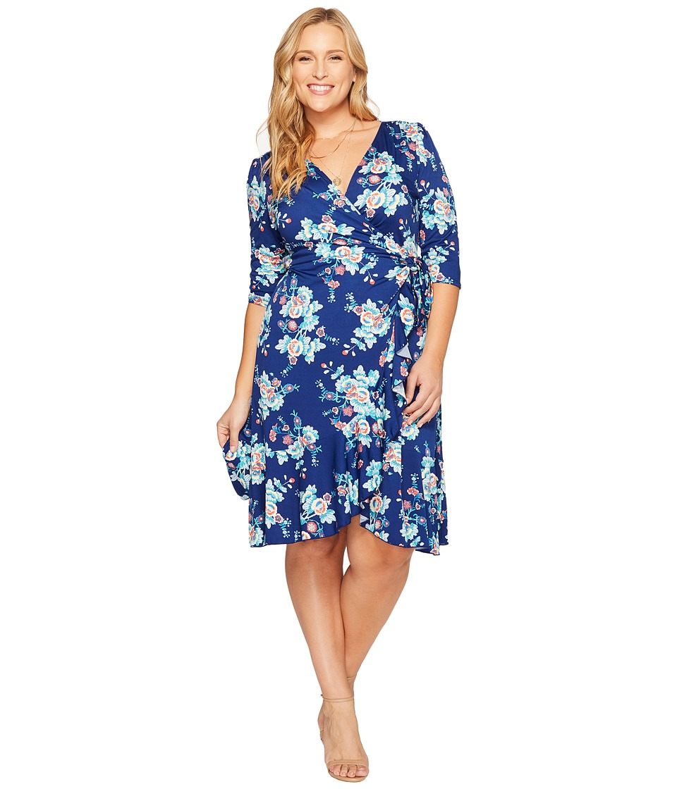 Kiyonna Flirty Flounce Wrap Dress (Vintage Floral) Women's Dress