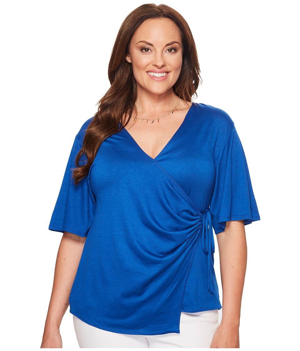 Kiyonna - Hope Cinch Top (Cobalt) Women's Short Sleeve Pullover