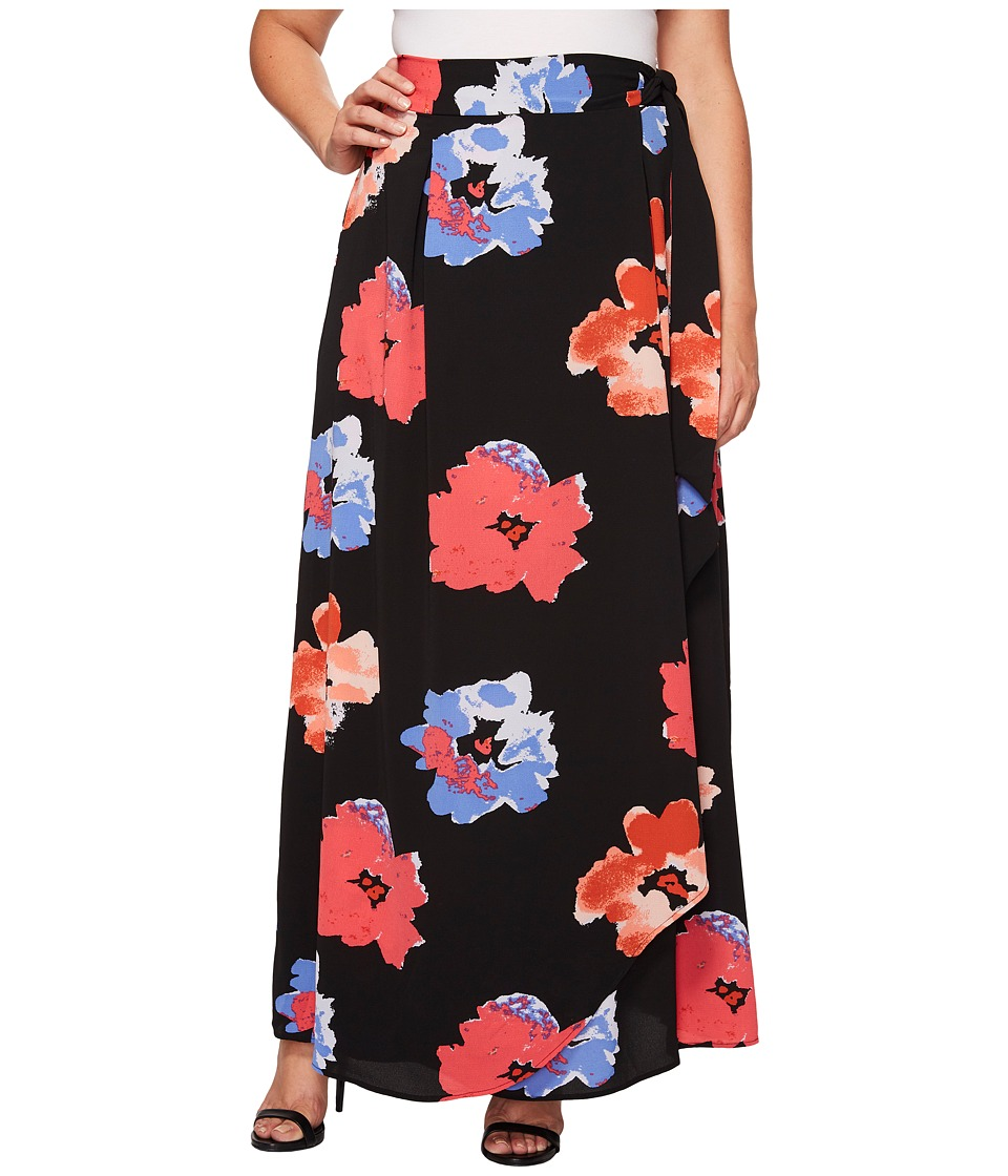 Kiyonna - Celine Chiffon Maxi Skirt (Abstract Floral Print) Women's Skirt