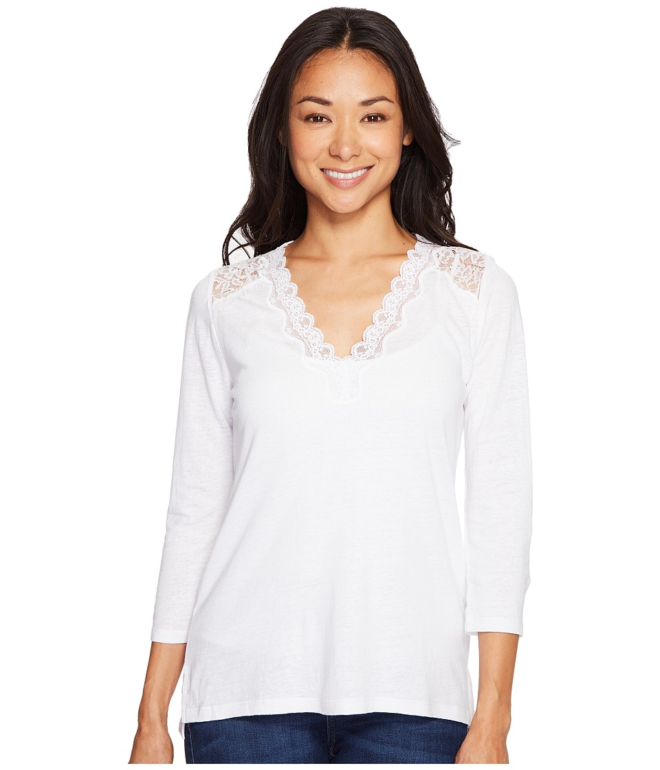 NYDJ Petite - Petite Ella Lace Knit Top (Optic White) Women's Clothing