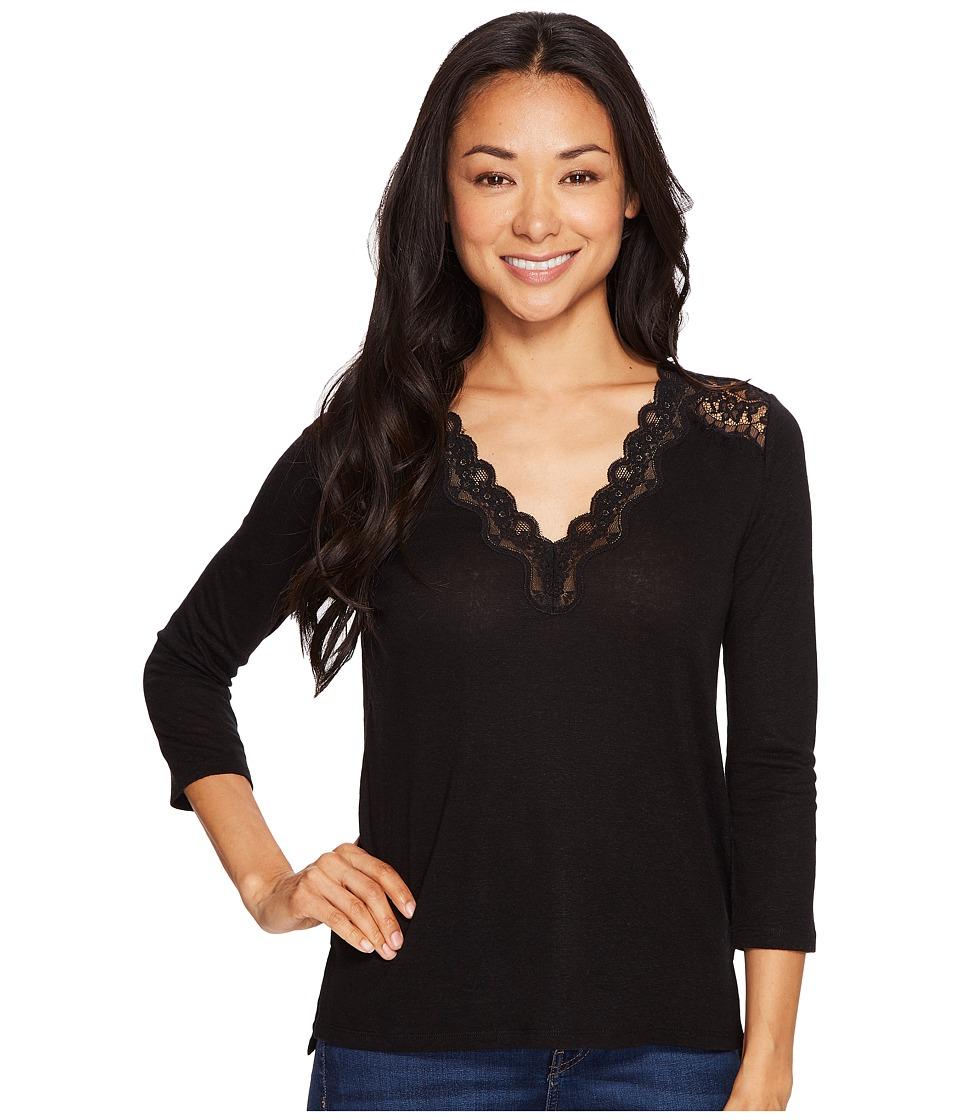 NYDJ Petite - Petite Ella Lace Knit Top (Black) Women's Clothing