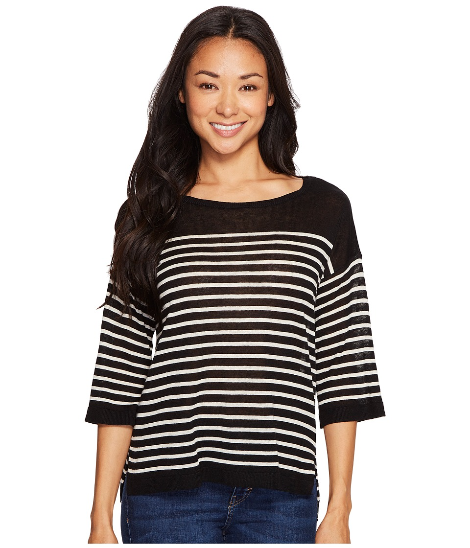 NYDJ Petite - Petite Serra Sweater (Black/Natural) Women's Clothing