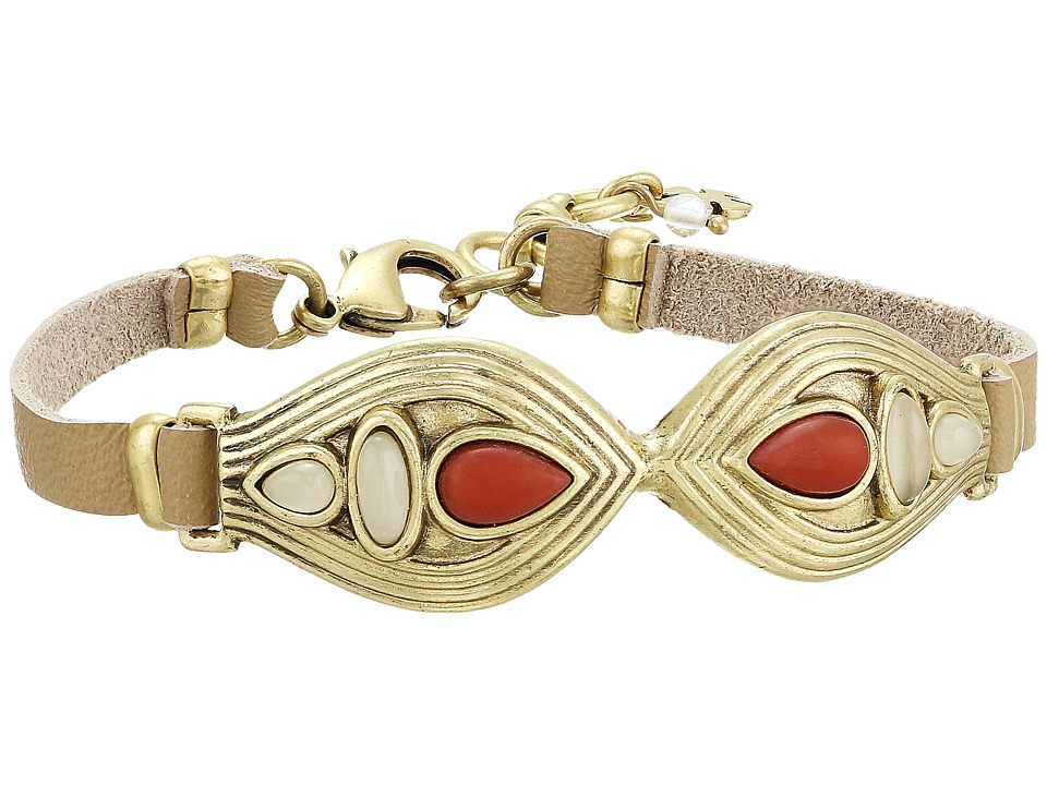 Lucky Brand - Leather Coral Bracelet (Gold) Bracelet