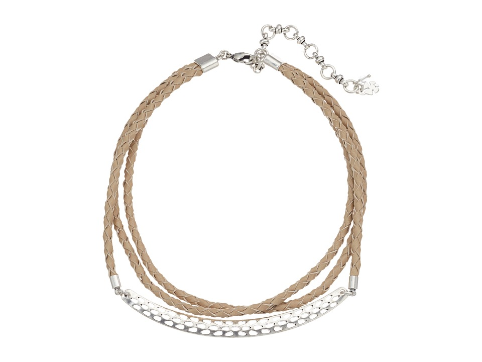 Lucky Brand - Leather Choker with Hardware Necklace (Silver) Necklace