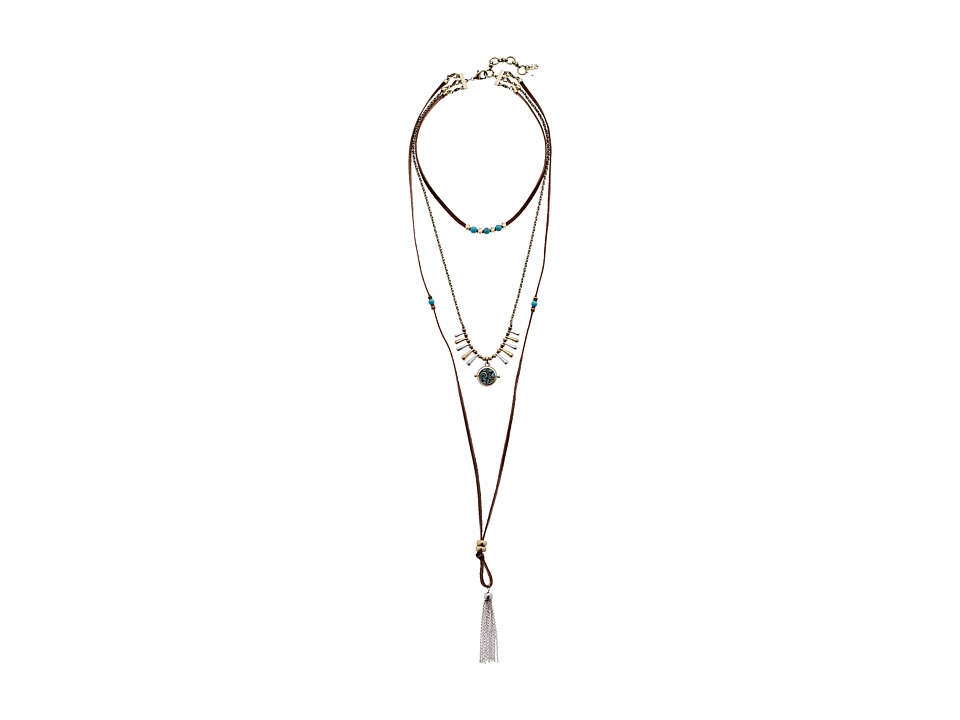 Lucky Brand - Turquoise Lucky Layer Choker Bolo Necklace (Two-Tone) Necklace