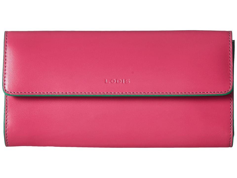 Lodis Accessories - Audrey Checkbook Clutch (Azalea/Green) Wallet Handbags