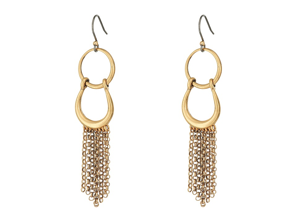 Lucky Brand - Front Facing Hoop with Fringe Earrings (Gold) Earring