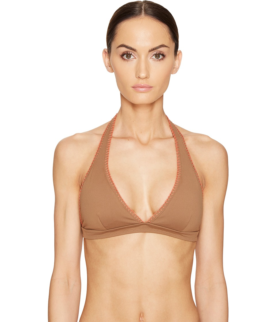 Letarte - Halter Top with Whipstitch (Bronze) Women's Swimwear
