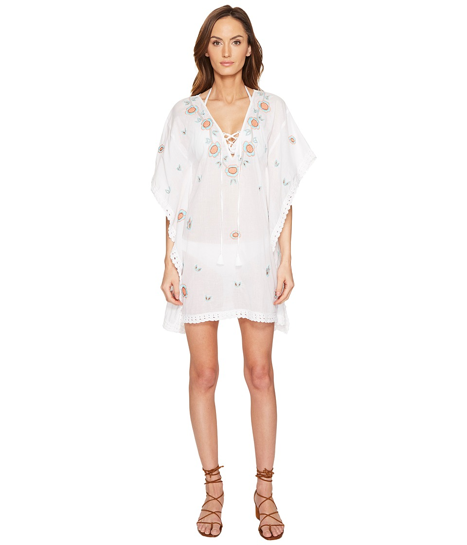 Letarte - Embroidered Tunic (White Multi) Women's Swimwear
