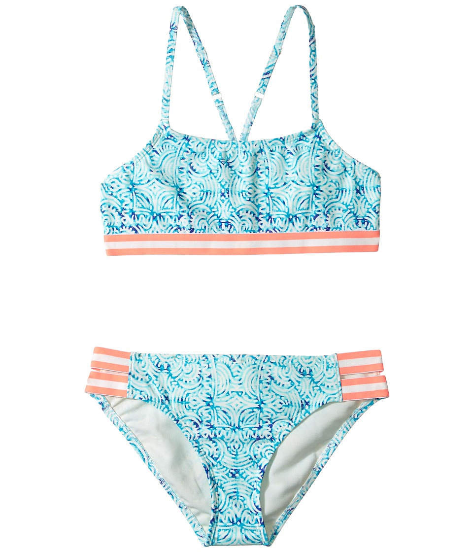 Roxy Kids - Caribbean Days Halter Set (Big Kids) (Marshmallow in the Flow) Girl's Swimwear Sets
