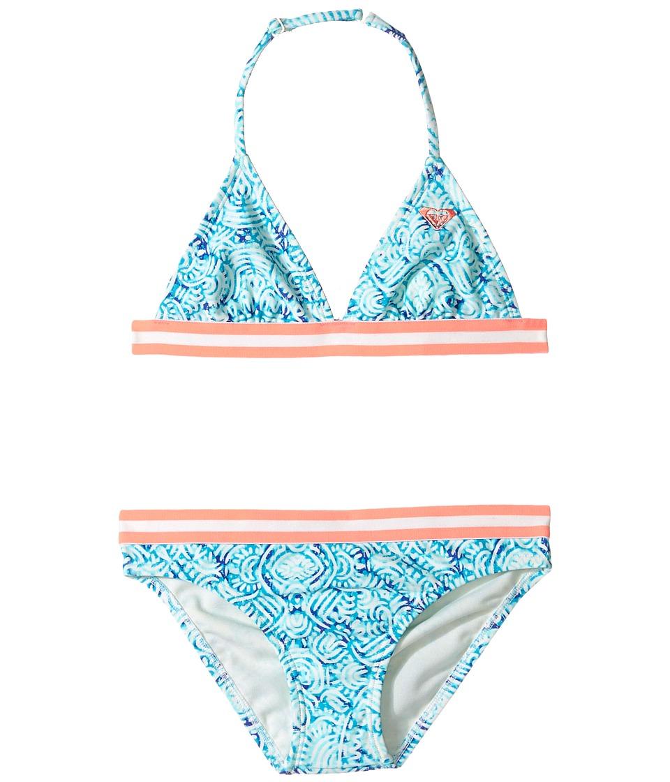 Roxy Kids - Caribbean Days Tri Set (Big Kids) (Marshmallow in the Flow) Girl's Swimwear Sets