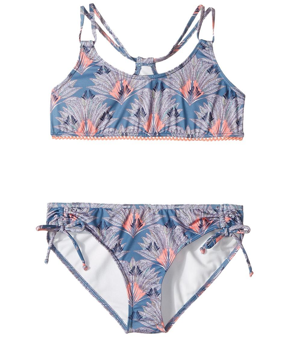 Roxy Kids - Cuba Girl Athletic Set (Big Kids) (Captain's Blue Peacock Palm) Girl's Swimwear Sets
