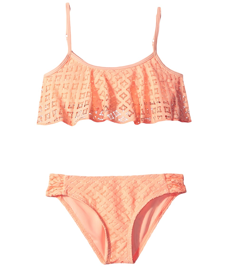 Roxy Kids - Palm Paradise Flutter Set (Big Kids) (Peach Nectar) Girl's Swimwear Sets
