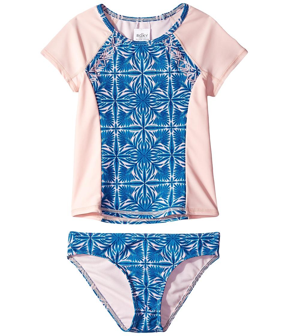 Roxy Kids - Sunny Dreams Rashguard Short Sleeve Lycra Set (Big Kids) (Rose Quartz Havana Tile) Girl's Swimwear Sets