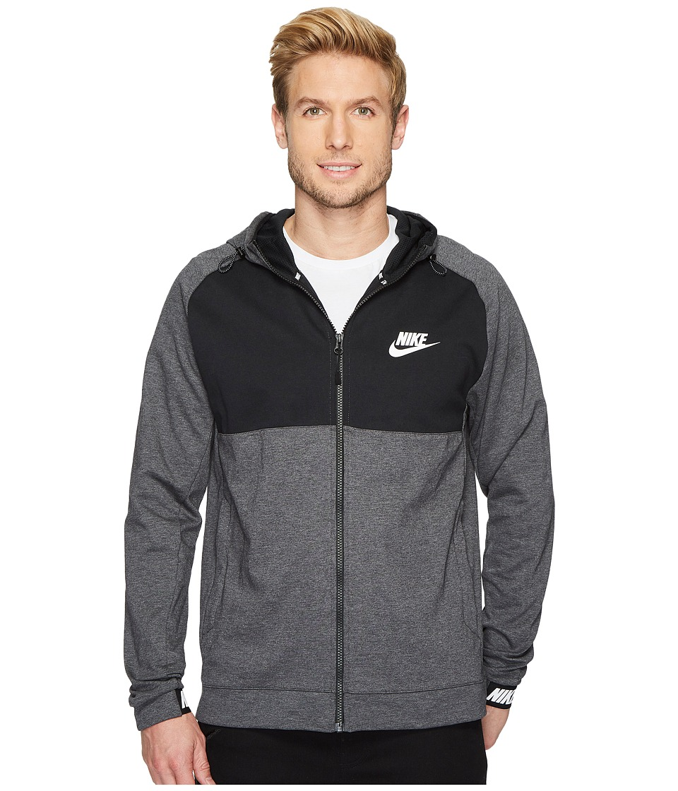 Nike Sportswear Advance 15 Full Zip Hoodie (Charcoal Heather/Black/Black/White) Men