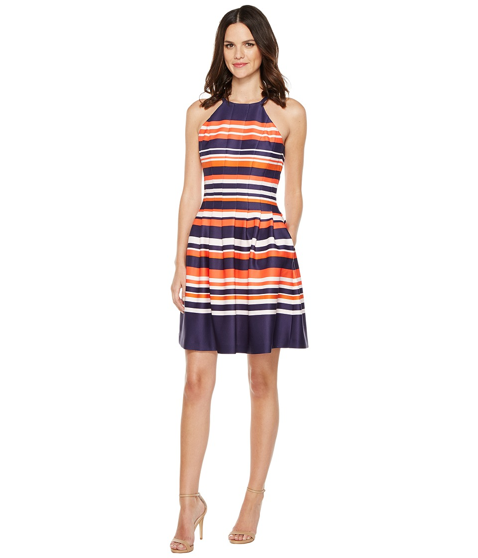 Vince Camuto - Printed Scuba Halter Fit and Flare Dress (Navy Multi) Women's Dress