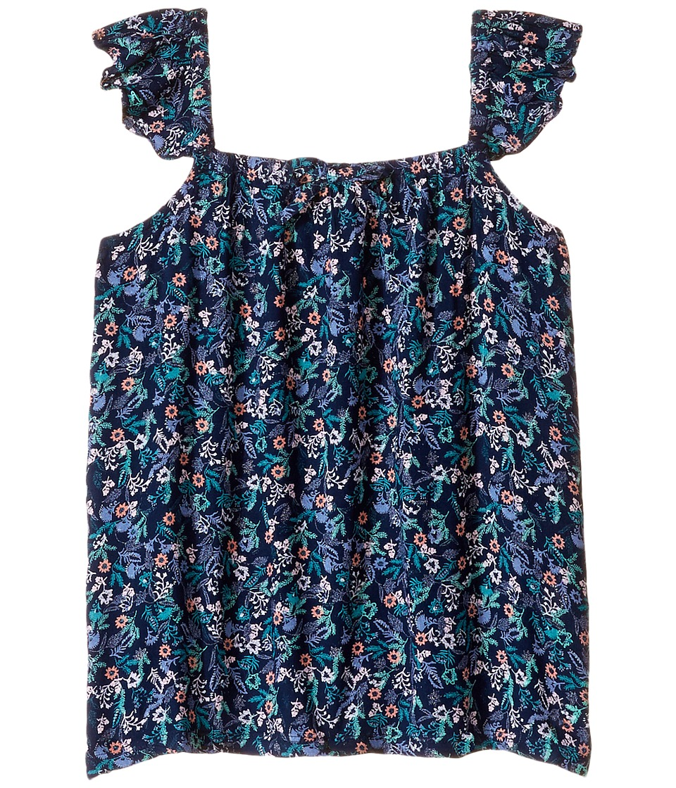 Roxy Kids - Are You Gonna Printed Top (Big Kids) (Dress Blues Rumba Ditsy) Girl's Sleeveless