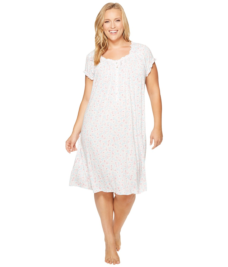 Eileen West - Plus Size Cotton Waltz Nightgown (Twilight Bay Ground With Berry Floral) Women's Pajama