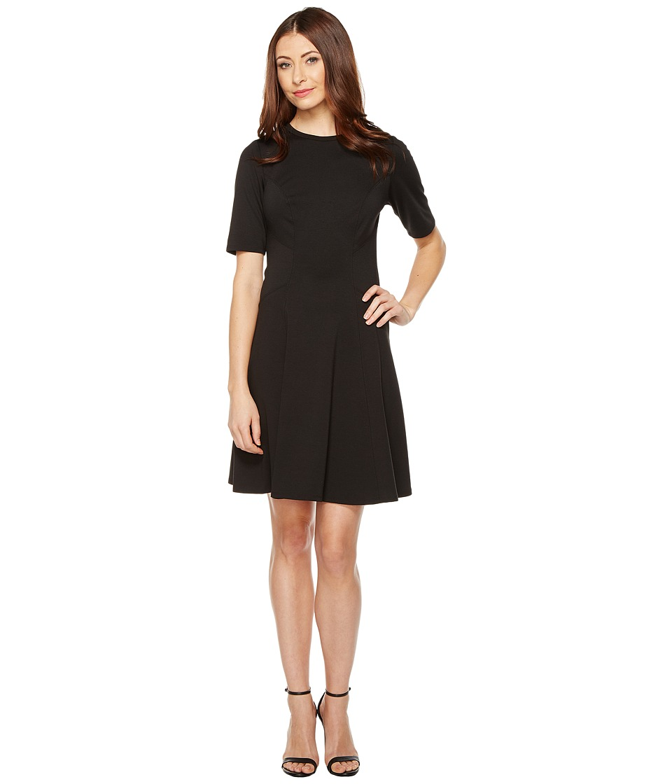 Christin Michaels Ella Short Sleeve Ponte Dress (Black) Women