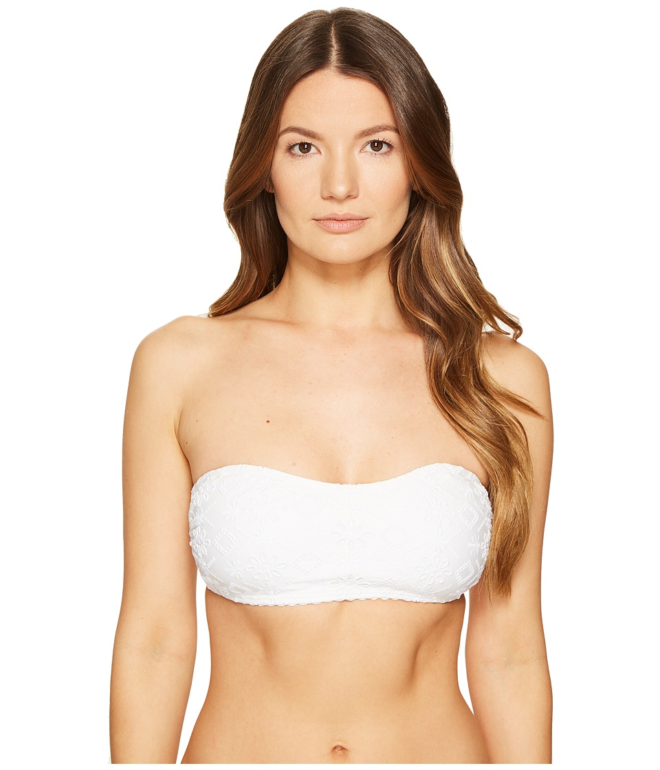 Kate Spade New York Half Moon Bay #58 Bandeau Bikini Top w/ Removable Soft Cups and Halter Straps (White) Women
