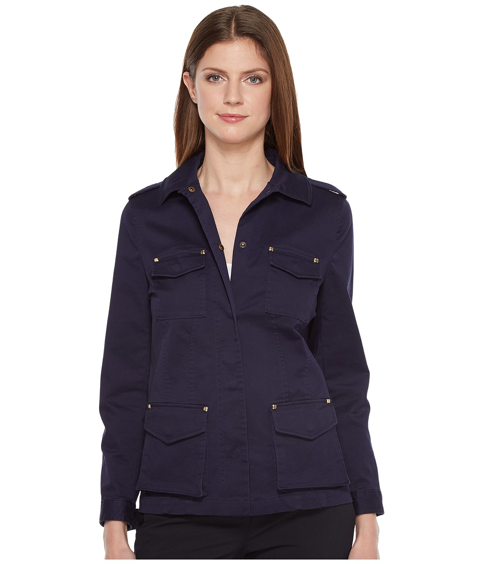 Ivanka Trump - Stretch Jacket with Hardware (Navy) Women's Coat