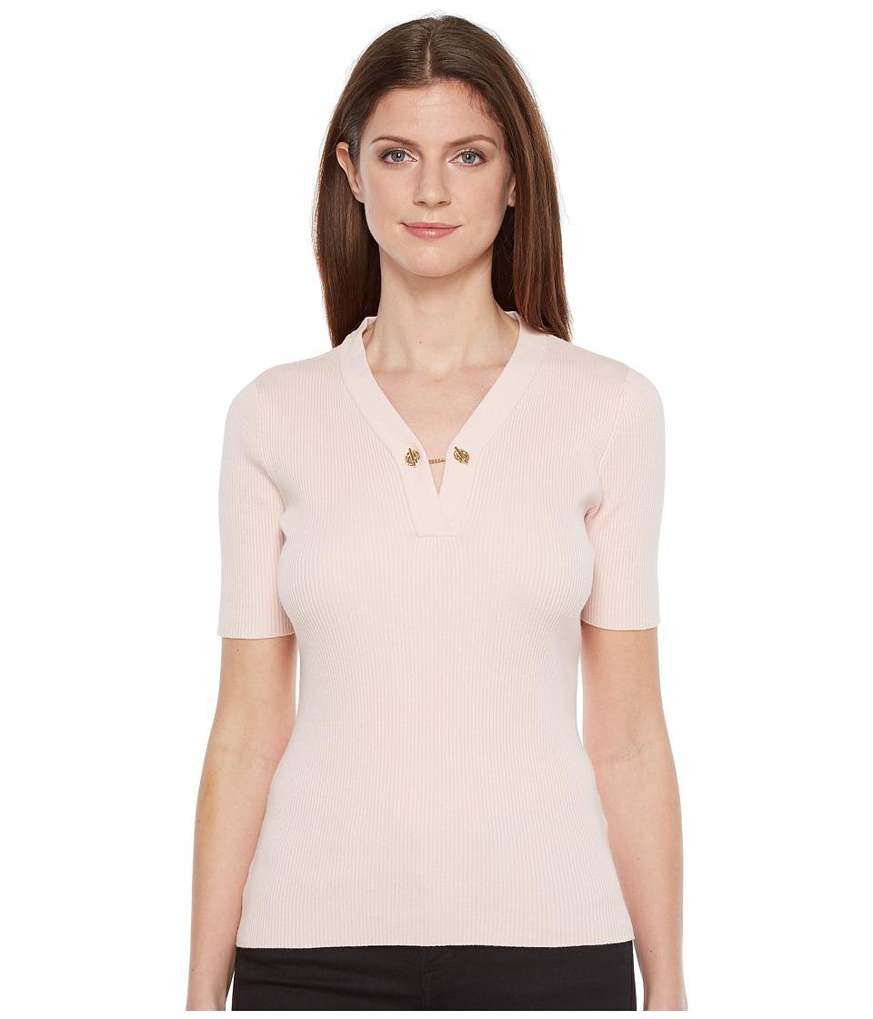 Ivanka Trump - Short Sleeve Sweater with Chain (Blush) Women's Sweater
