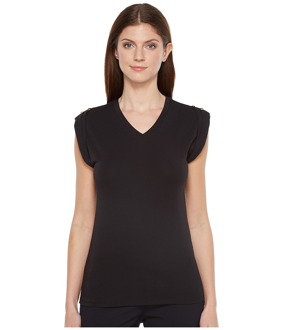 Ivanka Trump - Cap Sleeve Top (Black) Women's Clothing