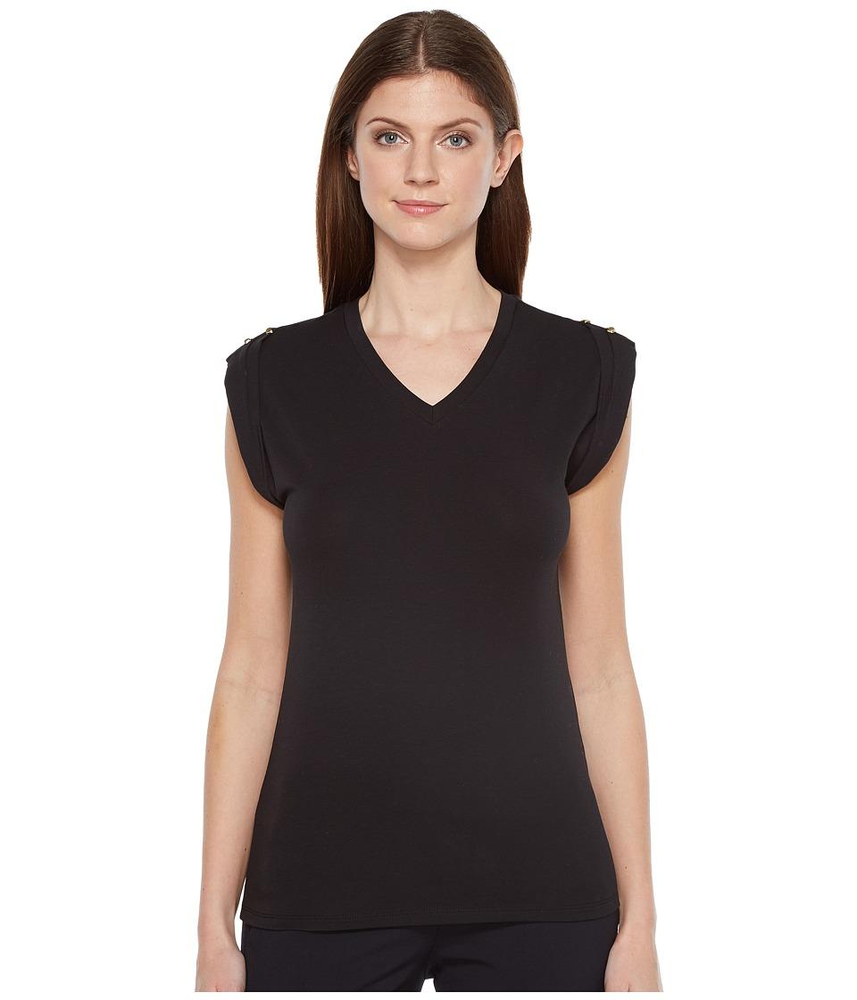 Ivanka Trump - Cap Sleeve Top (Black) Women's Clothing