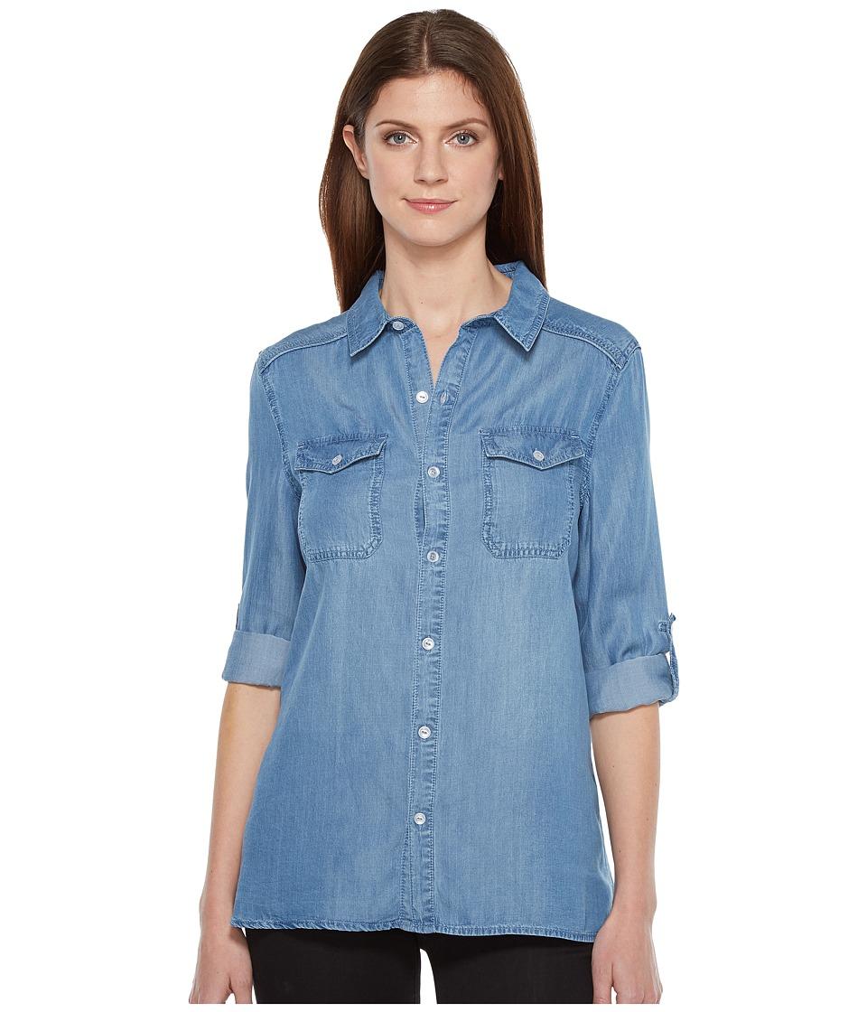 Ivanka Trump - Denim Front Tie Top (Medium Blue) Women's Long Sleeve Button Up