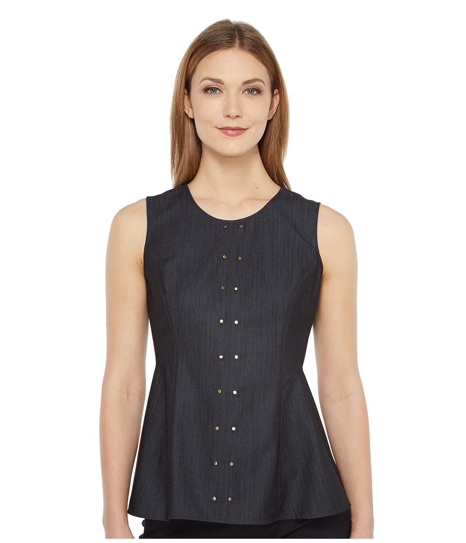 Ivanka Trump - Denim High-Low Peplum (Dark Blue) Women's Sleeveless