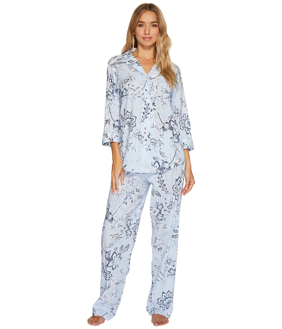 LAUREN Ralph Lauren - 3/4 Sleeve Classic Notch Collar Pajama (Blue Ground Floral) Women's Pajama Sets