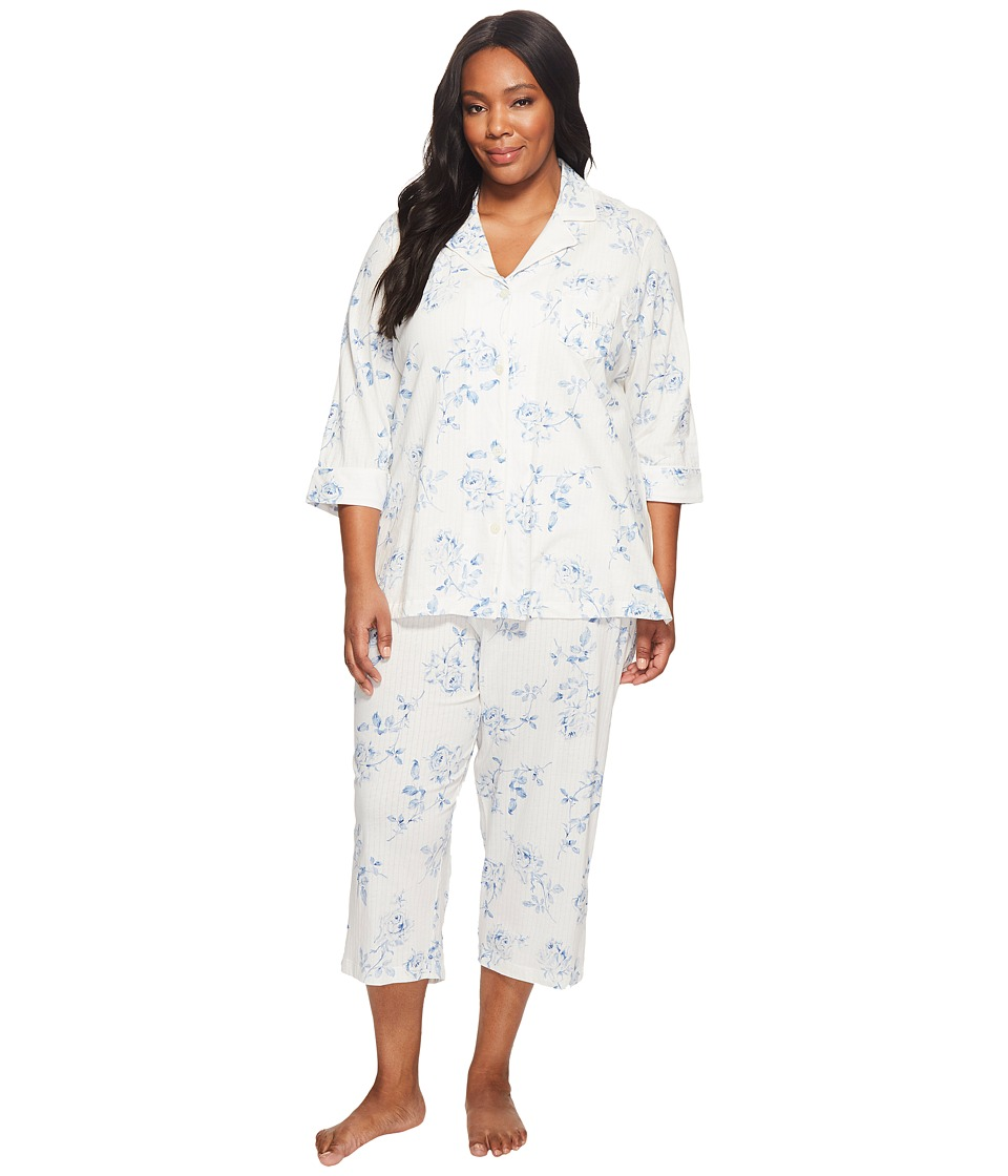 LAUREN Ralph Lauren - Plus Size 3/4 Sleeve Classic Notch Collar Capri Pajama (Ivory Ground Floral) Women's Pajama Sets