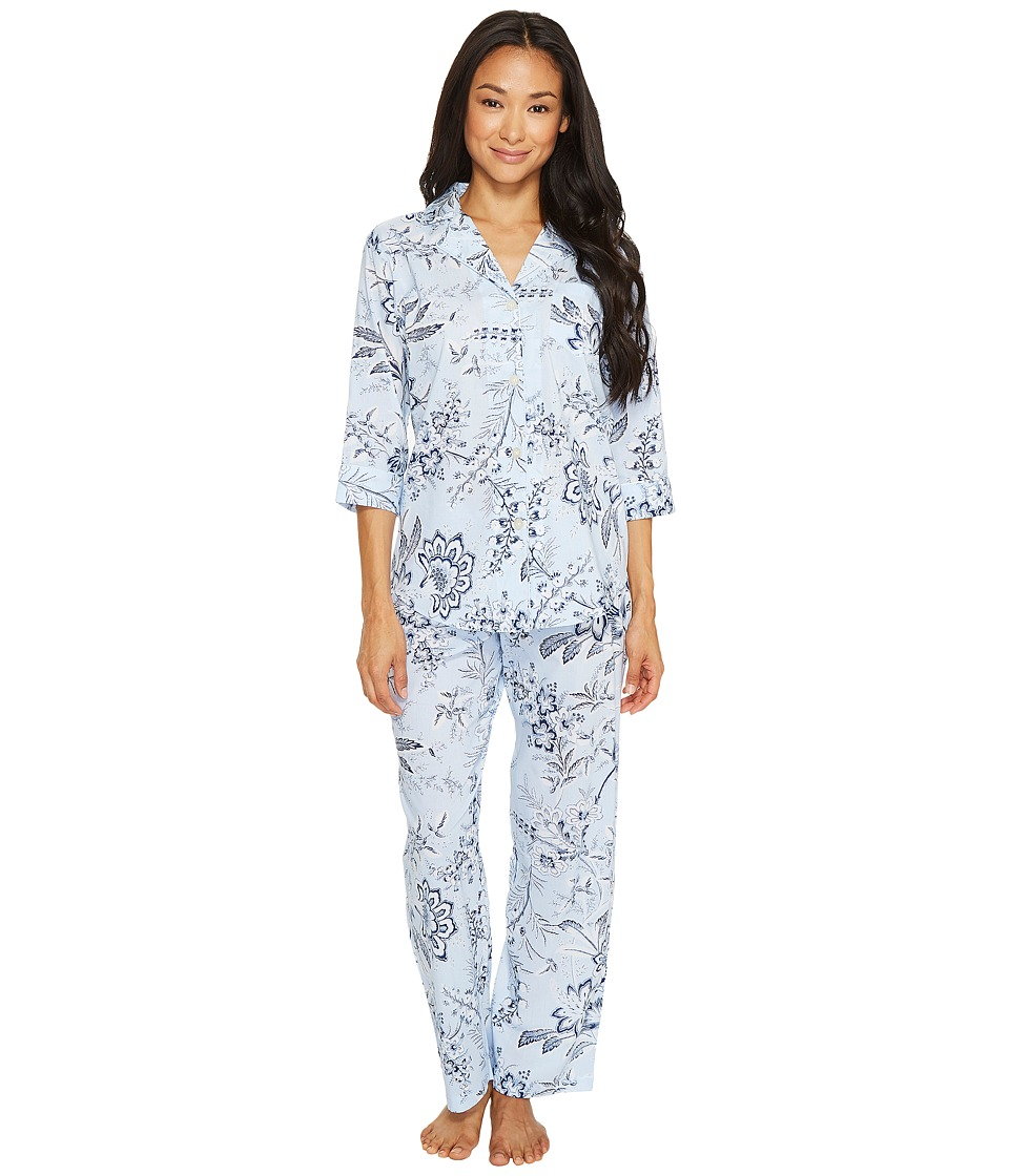 LAUREN Ralph Lauren - Petite 3/4 Sleeve Classic Notch Collar Pajama (Blue Ground Floral) Women's Pajama Sets
